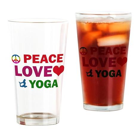Peace Love Yoga Designs Drinking Glass