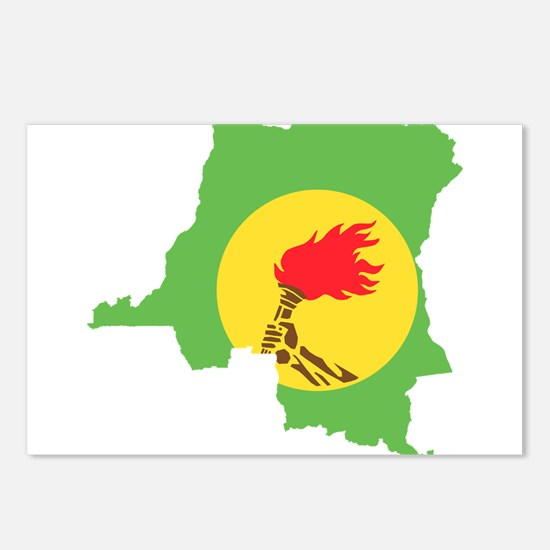 Zaire Flag and Map Postcards (Package of 8)