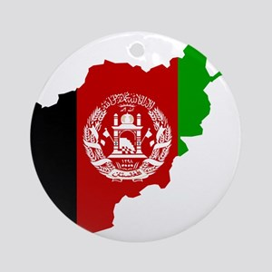 Afghanistan Flag and Map Ornament (Round)
