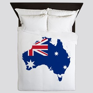 Australia Flag and Map Queen Duvet