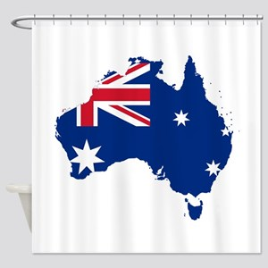 Australia Flag and Map Shower Curtain