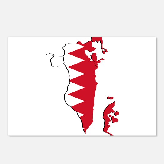 Bahrain Flag and Map Postcards (Package of 8)