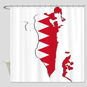 Bahrain Flag and Map Shower Curtain