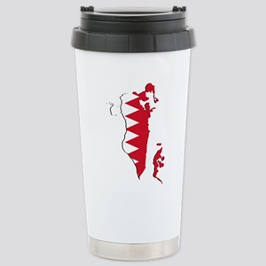Bahrain Flag and Map Stainless Steel Travel Mug