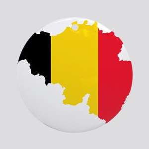 Belgium Flag and Map Ornament (Round)