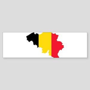 Belgium Flag and Map Sticker (Bumper)