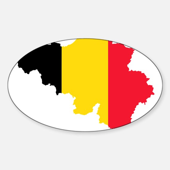 Belgium Flag and Map Sticker (Oval)