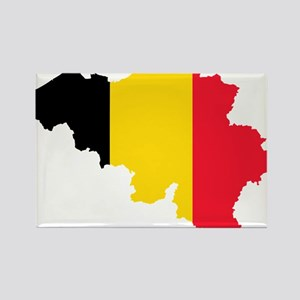 Belgium Flag and Map Rectangle Magnet