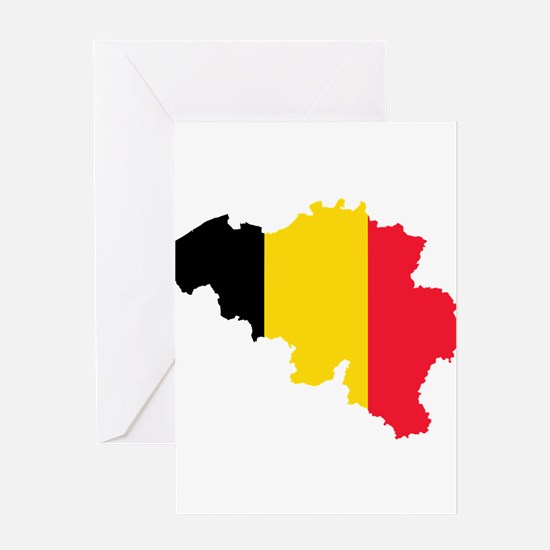 Belgium Flag and Map Greeting Card