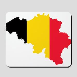 Belgium Flag and Map Mousepad