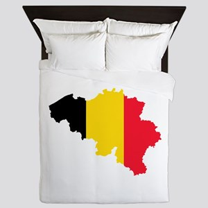 Belgium Flag and Map Queen Duvet