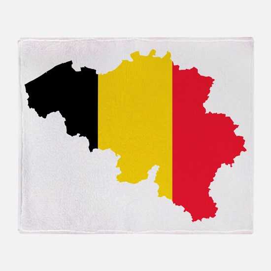 Belgium Flag and Map Throw Blanket