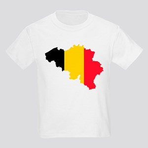 Belgium Flag and Map Kids Light T-Shirt