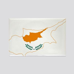 Cyprus Flag and Map Rectangle Magnet