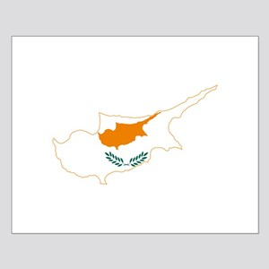 Cyprus Flag and Map Small Poster