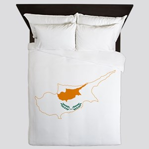 Cyprus Flag and Map Queen Duvet