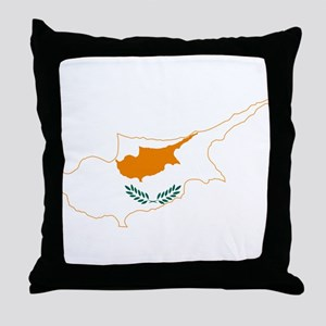 Cyprus Flag and Map Throw Pillow