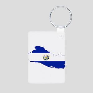 El Salvador Flag and Map Aluminum Photo Keychain