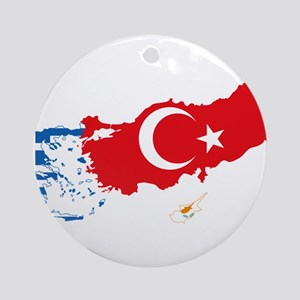 Greece Turkey Cyprus Flag and Map Ornament (Round)