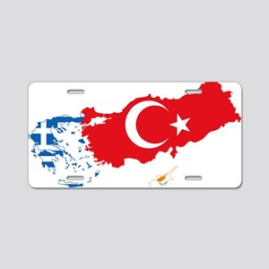 Greece Turkey Cyprus Flag and Map Aluminum License