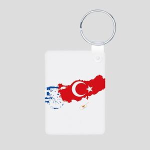 Greece Turkey Cyprus Flag and Map Aluminum Photo K