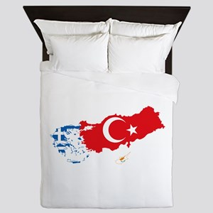 Greece Turkey Cyprus Flag and Map Queen Duvet