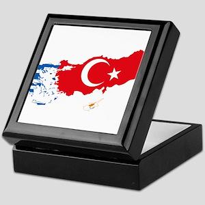 Greece Turkey Cyprus Flag and Map Keepsake Box
