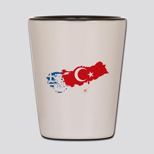 Greece Turkey Cyprus Flag and Map Shot Glass