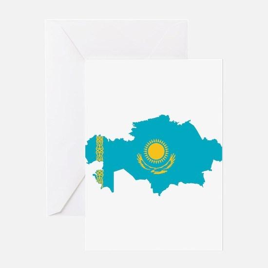 Kazakhstan Flag and Map Greeting Card
