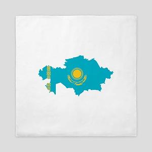 Kazakhstan Flag and Map Queen Duvet