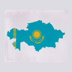Kazakhstan Flag and Map Throw Blanket