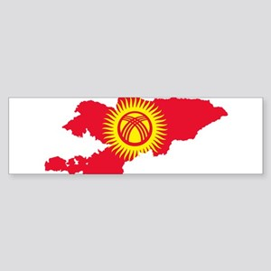 Kyrgyzstan Flag and Map Sticker (Bumper)