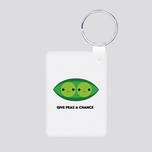 Give Peas a Chance Aluminum Photo Keychain