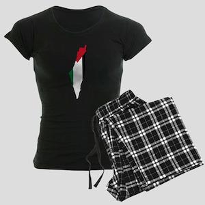 Palestine Flag and Map Women's Dark Pajamas