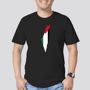 Palestine Flag and Map Men's Fitted T-Shirt (dark)