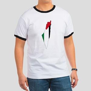 Palestine Flag and Map Ringer T