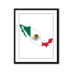 Mexico Flag and Map Framed Panel Print