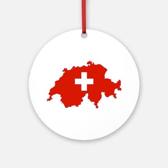 Switzerland Flag and Map Ornament (Round)