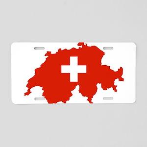 Switzerland Flag and Map Aluminum License Plate