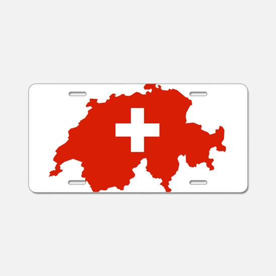 Switzerland Flag and Map Aluminum License Plate