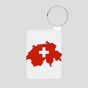 Switzerland Flag and Map Aluminum Photo Keychain