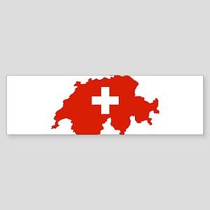Switzerland Flag and Map Sticker (Bumper)