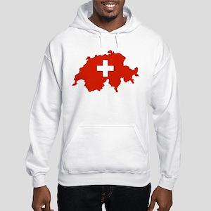 Switzerland Flag and Map Hooded Sweatshirt