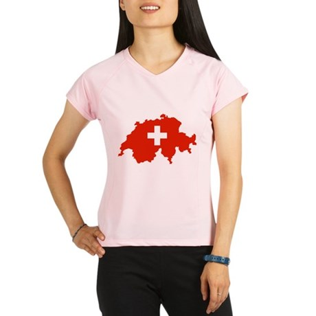 Switzerland Flag and Map Performance Dry T-Shirt
