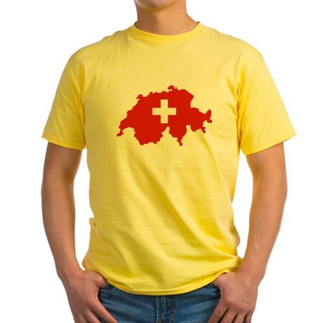 Switzerland Flag and Map Yellow T-Shirt
