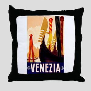 Venice Travel Poster 1 Throw Pillow