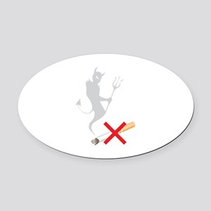 No Smoking Devil Oval Car Magnet
