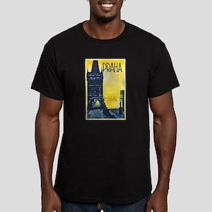 Prague Travel Poster 1 Men's Fitted T-Shirt (dark)