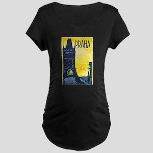 Prague Travel Poster 1 Maternity Dark T-Shirt