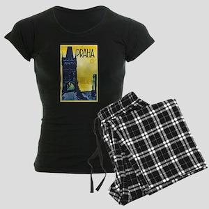 Prague Travel Poster 1 Women's Dark Pajamas